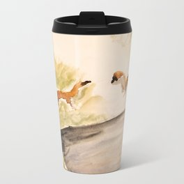 Stoat in the sunset (watercolor) Metal Travel Mug