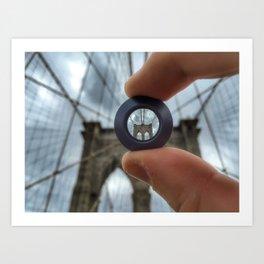 Brooklin Bridge lens Art Print
