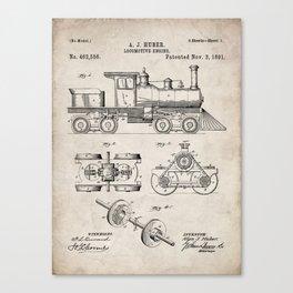 Train Locomotive Patent - Steam Train Art - Antique Canvas Print