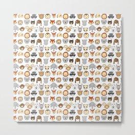 Animals - dense - white Metal Print