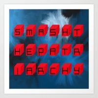 patriarchy Art Prints featuring Smash The Patriarchy by pandaliondeath