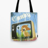 candy Tote Bags featuring CANDY by Chris Arran