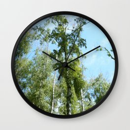 Nature. Blue Sky, Green Trees Wall Clock