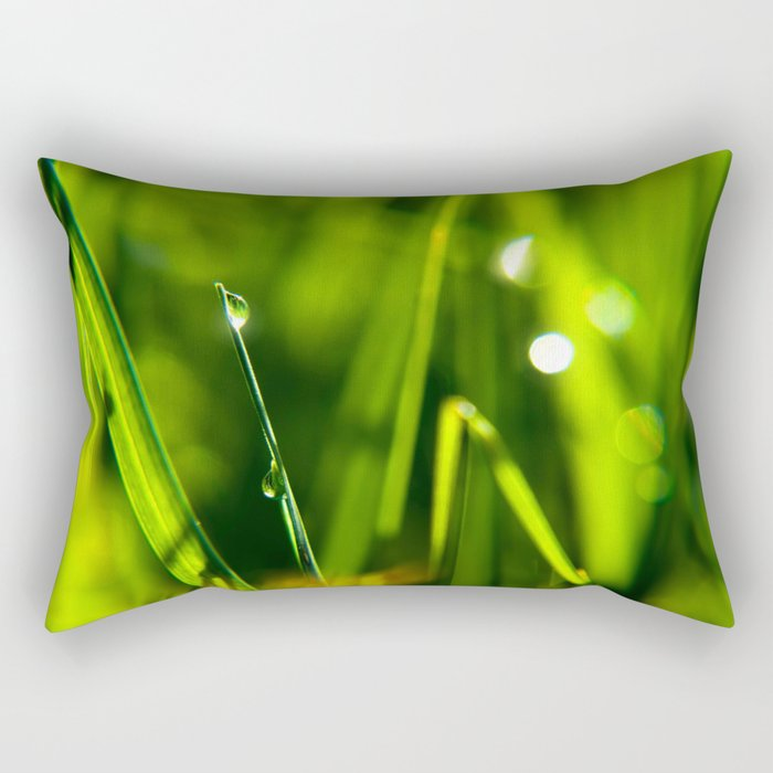 Dew on grass at early backlight Rectangular Pillow