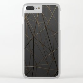Golden Wireframe Triangles Clear iPhone Case