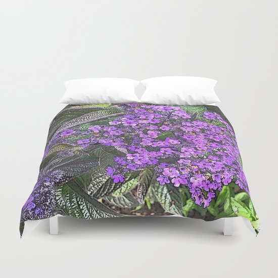 Spring floral blossom in lilac and green  Duvet Cover