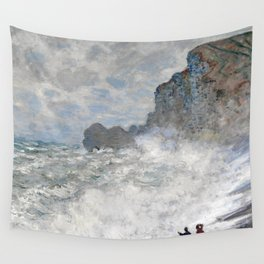 1883-Claude Monet-Rough weather at Étretat-65 x 81 Wall Tapestry