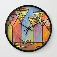 alcohol Wall Clocks featuring Martini Bar ... Abstract alcohol art by Amy Giacomelli