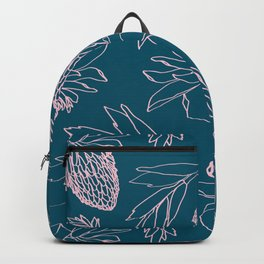 Tropical Ginger Plants in Coral + Dark Teal Green Backpack