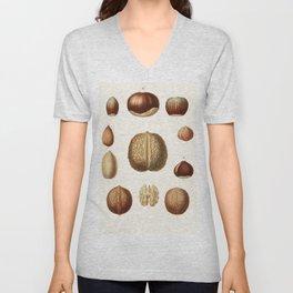 Vintage Hazelnut Chestnut Walnut ilustration Unisex V-Neck