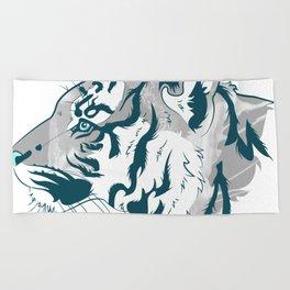 Grayscale Tiger Beach Towel