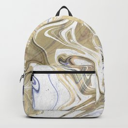 Marble Paint Swirl Trendy Abstract Glitter Gold Violet Backpack