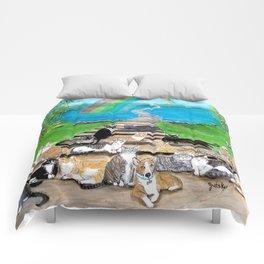 Rainbow Bridge Cats and dogs Comforters