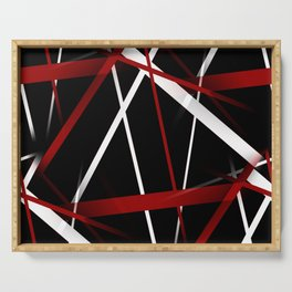 Seamless Red and White Stripes on A Black Background Serving Tray
