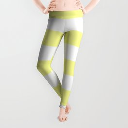 Pastel yellow - solid color - white stripes pattern Leggings