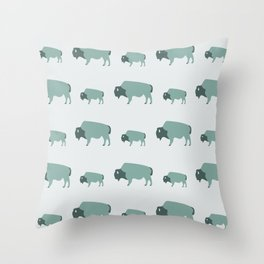 Bison And Baby (Moss) Throw Pillow