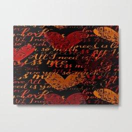 Kiss Me, Miss Me Red Metal Print