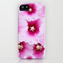 FUCHSIA-PINK HOLLYHOCK  FLOWER PATTERNS iPhone Case