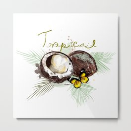 Tropical print with coconut Metal Print