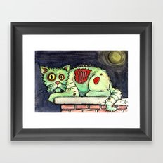 zombie cat on the wall Framed Art Print