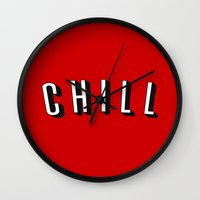 chill Wall Clocks featuring Chill by Jessie Rose