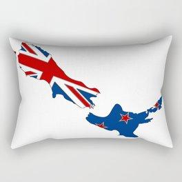 New Zealand Map with Kiwi Flag Rectangular Pillow