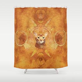 Abyssinian Cat Sacred Geometry Digital Art Shower Curtain