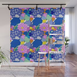 Far-Out 60's Floral in White Wall Mural
