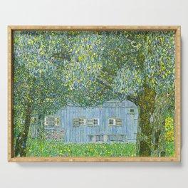 Klimt - Farmhouse in Upper Austria (new editing) Serving Tray