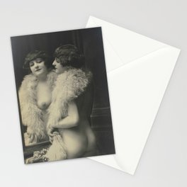 Victorian Vintage Posing Lady Erotic French Looking in Mirror Stationery Cards