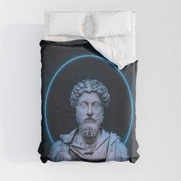 Marcus Aurelius Minimalist Neon Duvet Cover