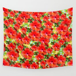 Hibiscus Flower - Red Wall Tapestry