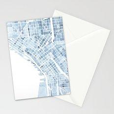Map Seattle Washington Blueprint watercolor map Stationery Cards