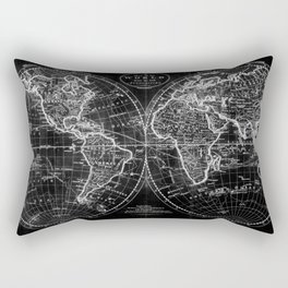 Black and White World Map (1795) Inverse Rectangular Pillow