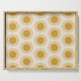 Golden Sun Pattern Serving Tray