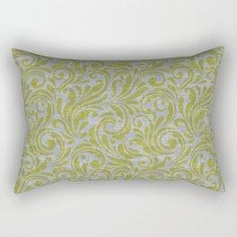 Leaf Scroll Green/Gray Rectangular Pillow
