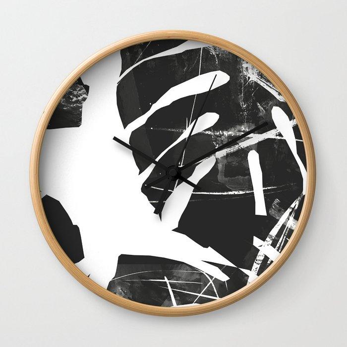 Monstera Leaf Black Wall Clock