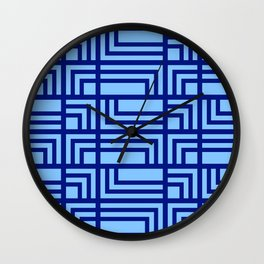 Blue Ocean Pattern | Sea | Geometric | Greece Inspired | Square Shapes | Art Deco | For Him Wall Clock