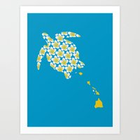 hawaii Art Prints featuring Hawaii by Erik Sandi Satresa