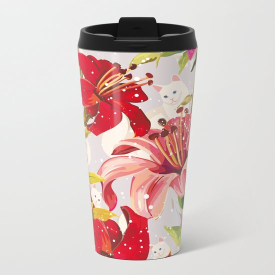 Patron flowers and cats Metal Travel Mug