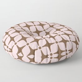Mid Century Modern Star Pattern Pink and Brown Floor Pillow
