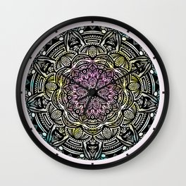 DETAILED CHARCOAL MANDALA (BLACK AND WHITE) WITH COLOR (PINK YELLOW TEAL) Wall Clock