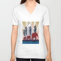 elephants V-neck T-shirts featuring Elephants by LoRo  Art & Pictures