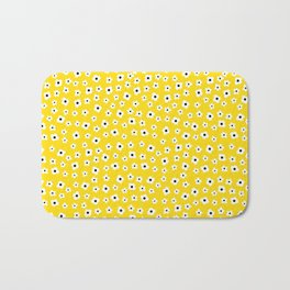 White Yellow Spring Flower Pattern Bath Mat