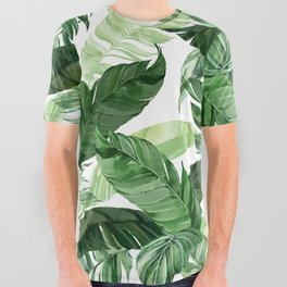 Green leaf watercolor pattern All Over Graphic Tee