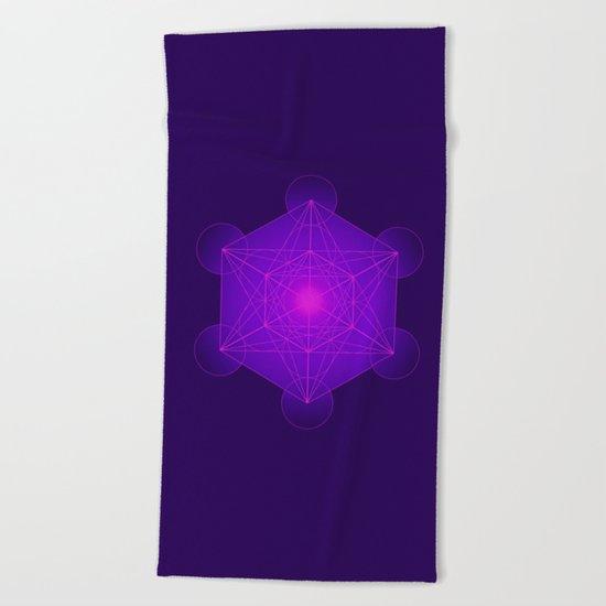 Metatron | Cube | Secret Geometry | Platonic | Matrix | Protects children Beach Towel