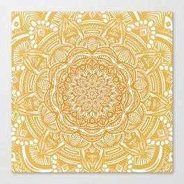Golden Mustard Yellow Orange Ethnic Mandala Detailed Canvas Print