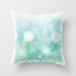 Blue Snowflakes Blur Lights Snowing Modern Winter Pattern Throw Pillow