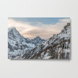 Mountains at sunset - Alpine snowy landscape Metal Print
