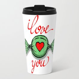 I love you (green) written in red Travel Mug